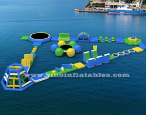 kids N adult giant inflatable floating water obstacle course