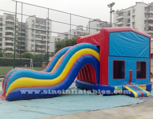 commercial rainbow kids inflatable combo with slide