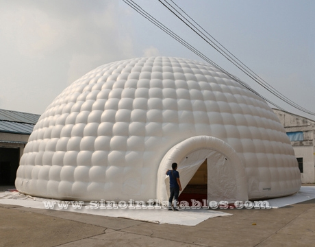 giant inflatable igloo dome tent with tunnel entrances