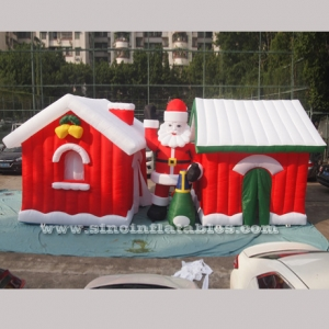 Inflatable Christmas houses and Santa Clause