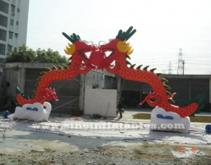 commercial double dragons inflatable arch