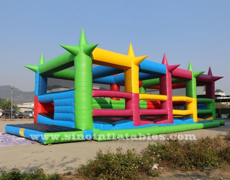 Outdoor adults inflatable 5K obstacle course with shooting