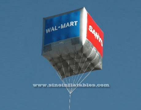 Flying advertising inflatable square cube helium balloon