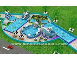 inflatable water park on land