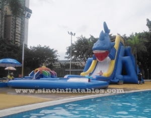 big shark inflatable ground water park with pool