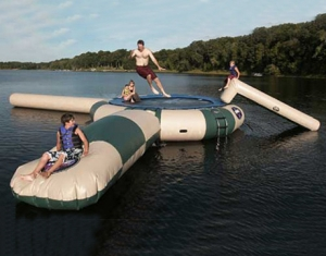 giant inflatable water trampoline with blob