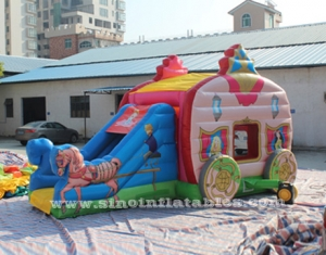 kids princess carriage inflatable bouncy castle with slide