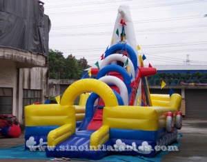 big ship kids inflatable playground with slide