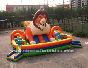 big jungle lion kids inflatable fun park with slide