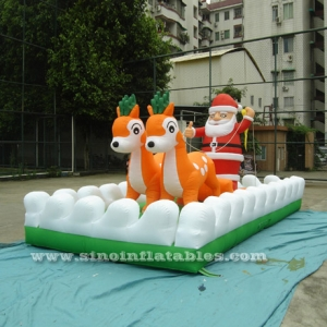 giant Christmas inflatable reindeer sleigh
