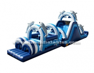 kids big dolphin inflatable obstacle course