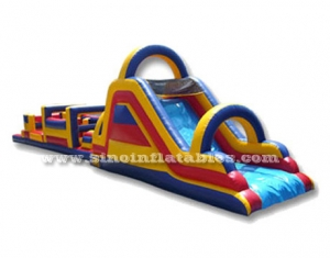 long adult inflatable obstacle course with slide