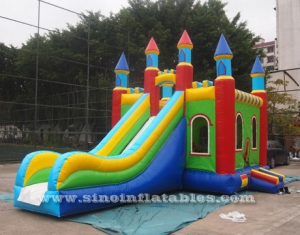big rainbow kids inflatable combo slide