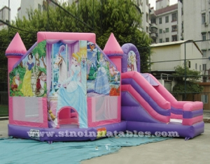 inflatable princess bouncy castle with slide