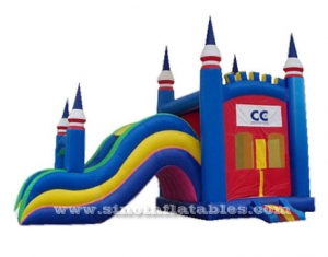 Outdoor tropical inflatable combo bouncer with slide
