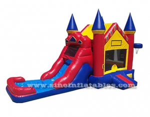 inflatable water bounce house with pool