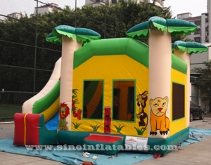 tropical jungle inflatable combo castle with slide