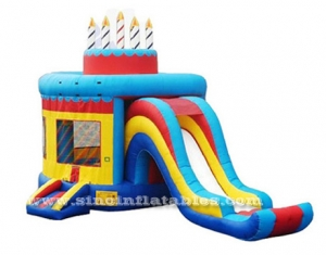 birthday cake kids bouncy castle with slide