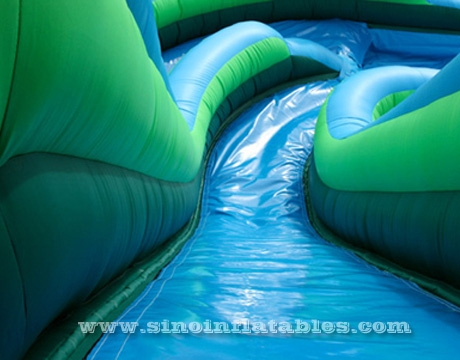 kids giant inflatable curve water slide with pool