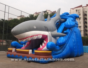 8 meters high giant inflatable shark slide