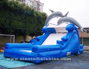 dolphin kids inflatable water slide with pool