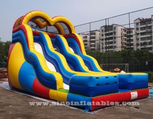 wavy double lane kids inflatable slide