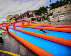 double lane inflatable water slip and slide