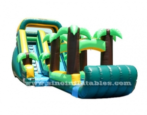 tropical forest kids blow up inflatable water slide with pool