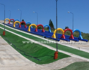 Outdoor kids N adults arch inflatable slip N slide track