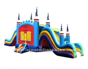 kids inflatable jumping castle with double lanes slide