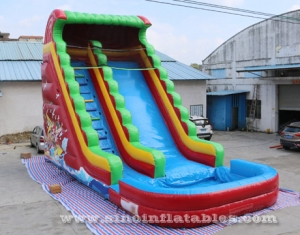 adults Inflatable pirate Water Slide With big pool