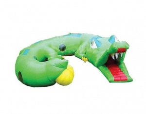 giant green inflatable crocodile tunnel