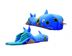 kids blue whale inflatable tunnel