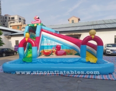 flamingo lake kids inflatable pool slide with big pool