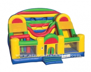 children giant house inflatable obstacle course with double slide