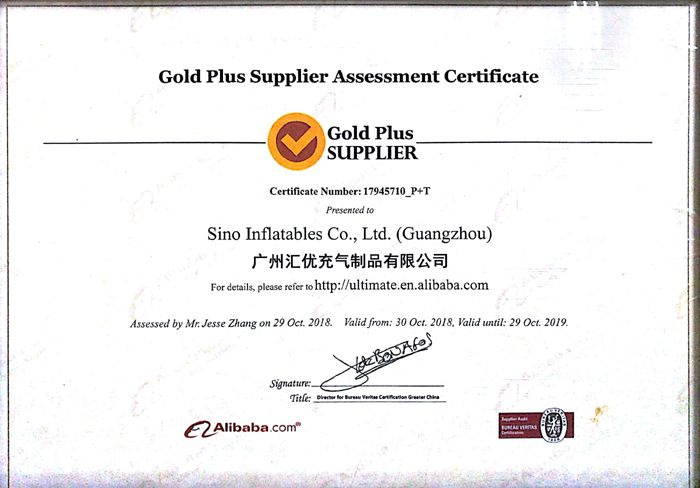 Sino Inflatables has passed BV inspection and gotten the reatled certificate