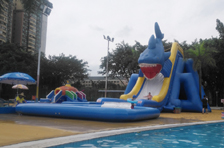 A big ground inflatable water park was built in city center of Canton