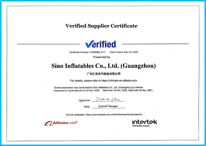 Sino Inflatables factory passed the most restrict system certificate aduit of INERTEK last month end