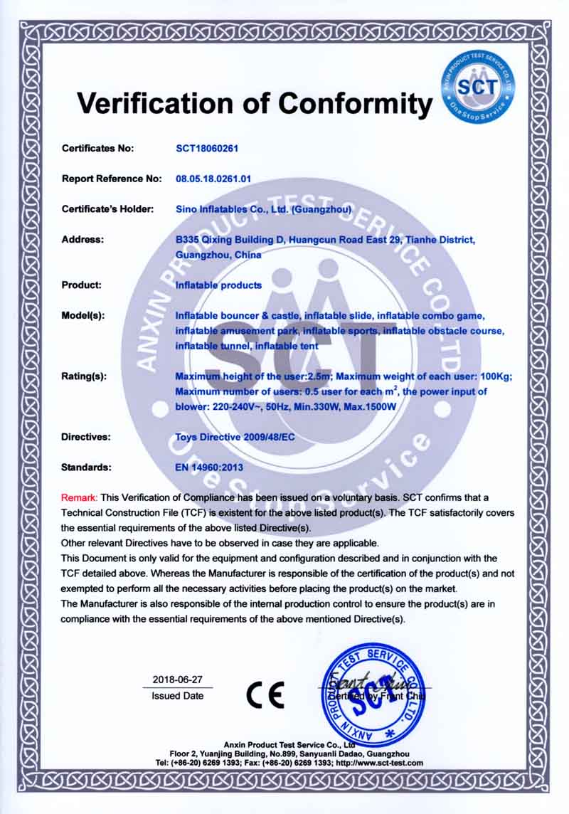 EN14960 certificate for inflatable toys, inflatable obstacle courses and inflatable tents
