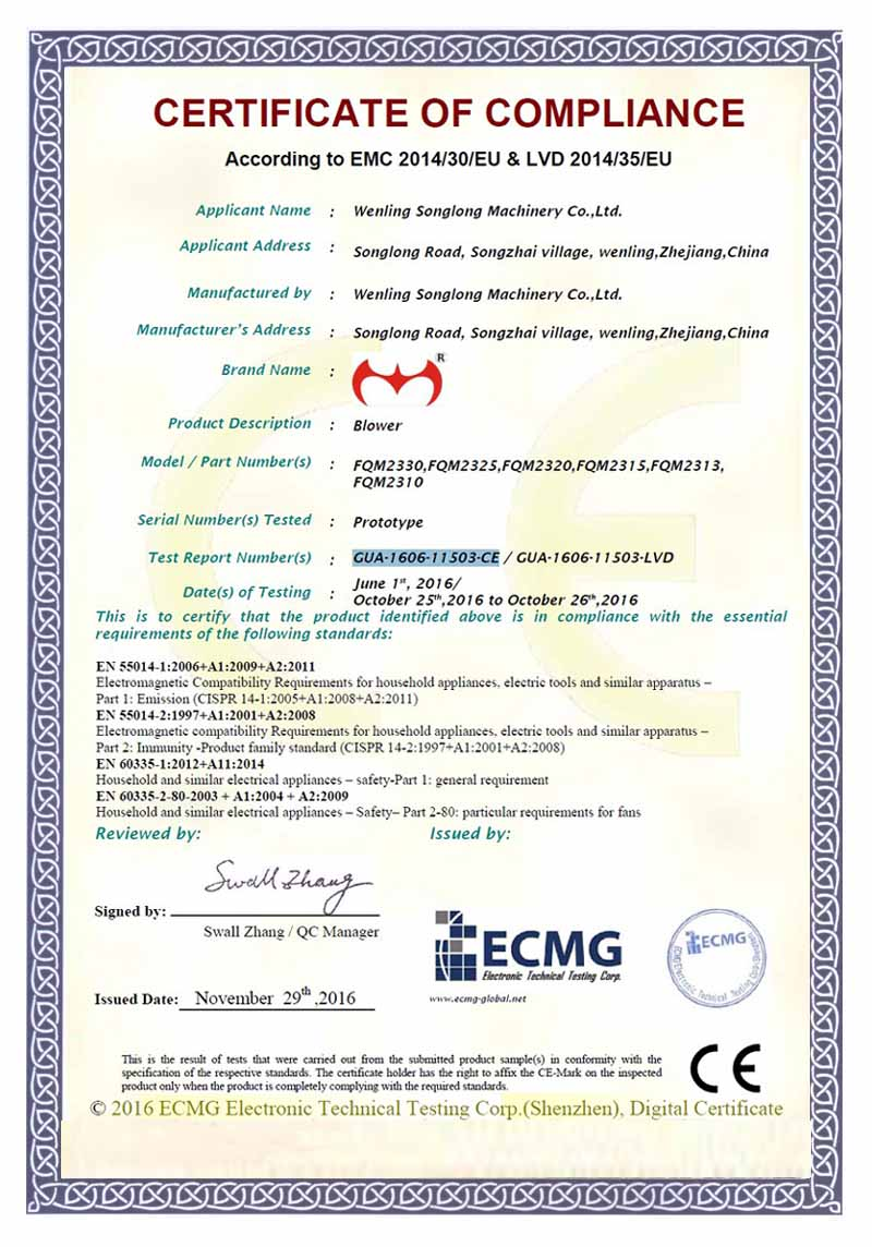 CE certificate for our inflatable blowers