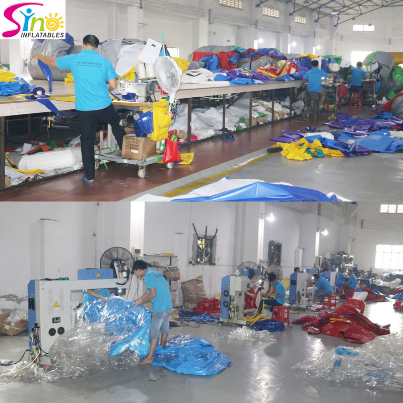Sino Inflatables Factory stitching N heat welding corner